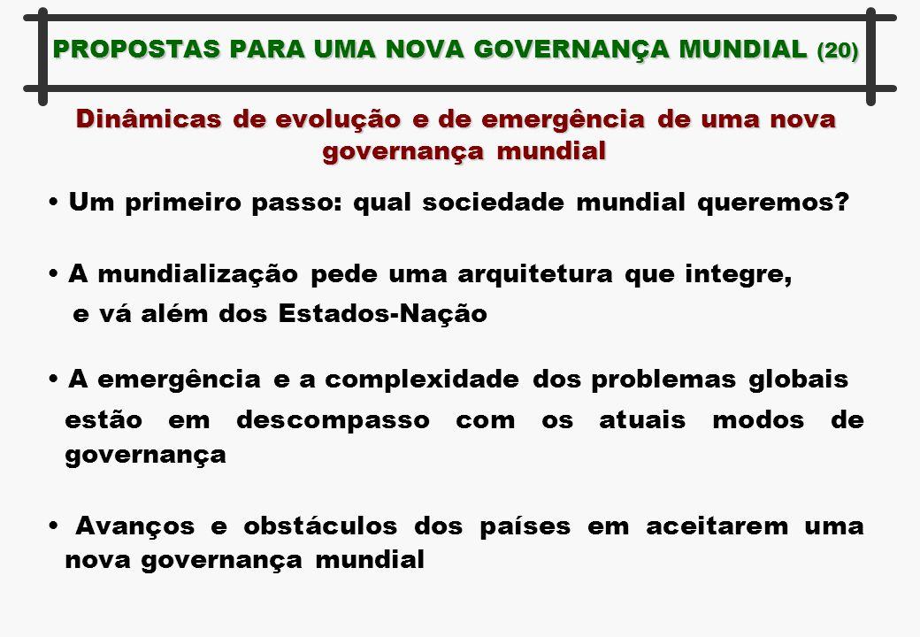 PROPOSTAS PARA UMA NOVA GOVERNANÇA MUNDIAL (20) Dinâmicas de evolução e de emergência de uma nova governança mundial Um primeiro passo: qual sociedade