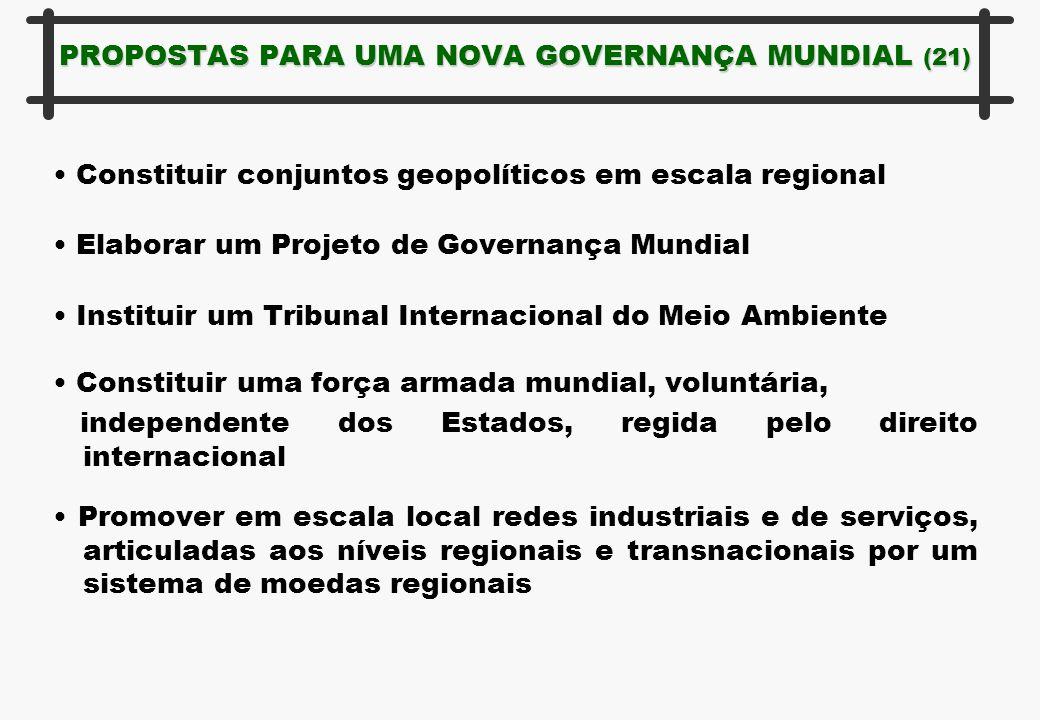 PROPOSTAS PARA UMA NOVA GOVERNANÇA MUNDIAL (21) Constituir conjuntos geopolíticos em escala regional Elaborar um Projeto de Governança Mundial Institu