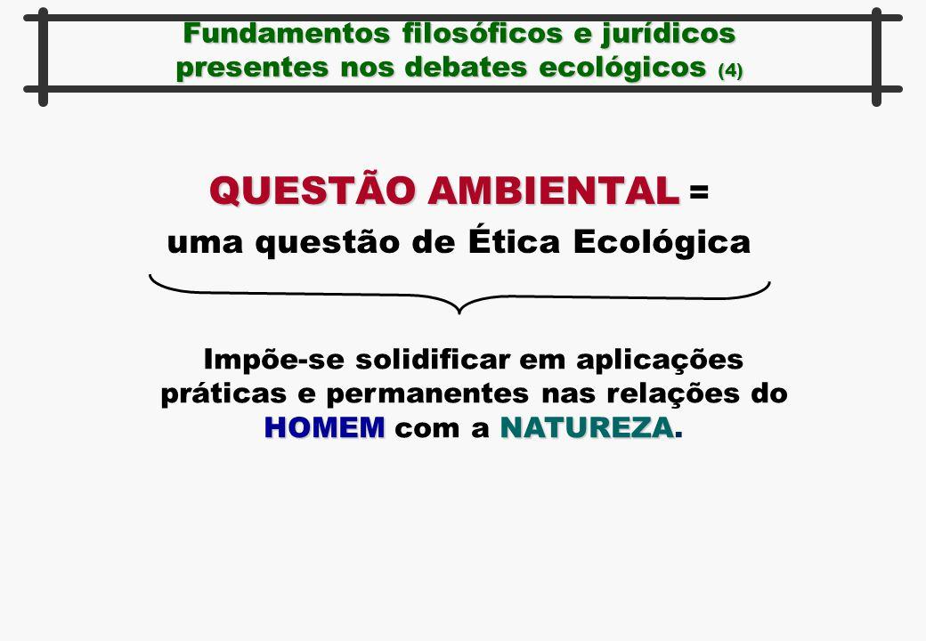 Fundamentos filosóficos e jurídicos presentes nos debates ecológicos (4) QUESTÃO AMBIENTAL QUESTÃO AMBIENTAL = uma questão de Ética Ecológica HOMEMNAT