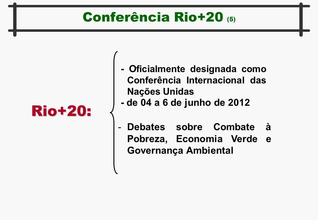 Conferência Rio+20 (5) Rio+20: - O ficialmente designada como Conferência Internacional das Nações Unidas - de 04 a 6 de junho de 2012 -Debates sobre