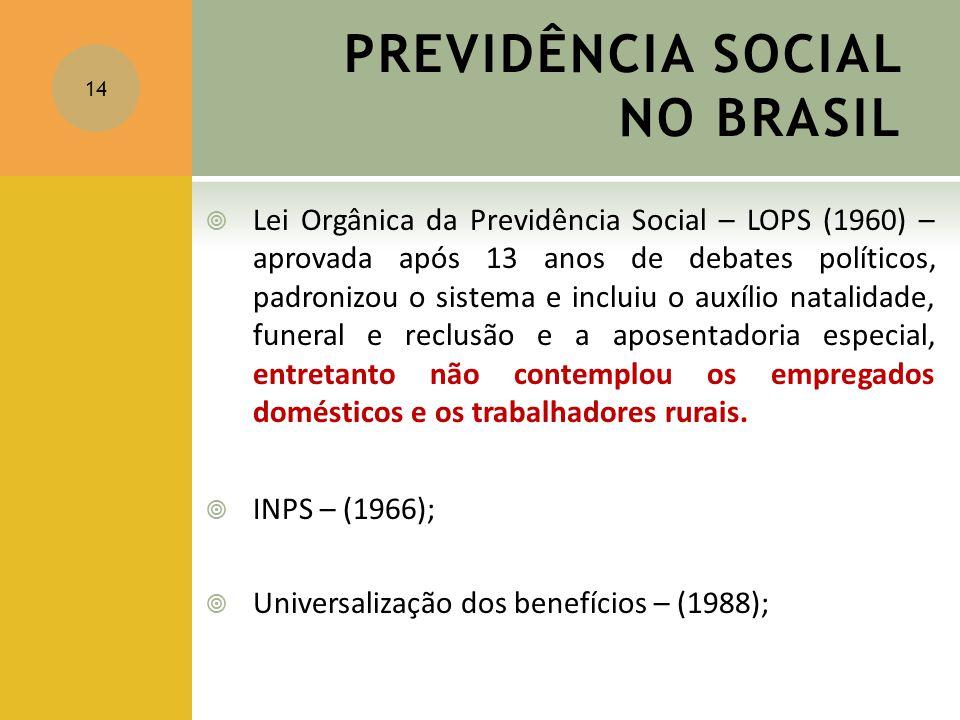 PREVIDÊNCIA SOCIAL NO BRASIL  Lei Orgânica da Previdência Social – LOPS (1960) – aprovada após 13 anos de debates políticos, padronizou o sistema e i