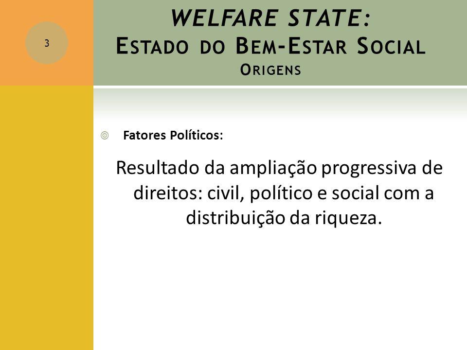 WELFARE STATE: E STADO DO B EM -E STAR S OCIAL O RIGENS  Fatores Políticos: Resultado da ampliação progressiva de direitos: civil, político e social