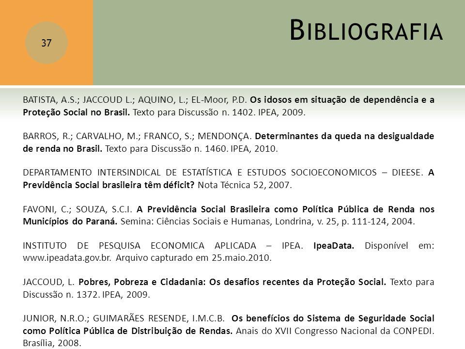 B IBLIOGRAFIA 37 BATISTA, A.S.; JACCOUD L.; AQUINO, L.; EL-Moor, P.D. Os idosos em situação de dependência e a Proteção Social no Brasil. Texto para D