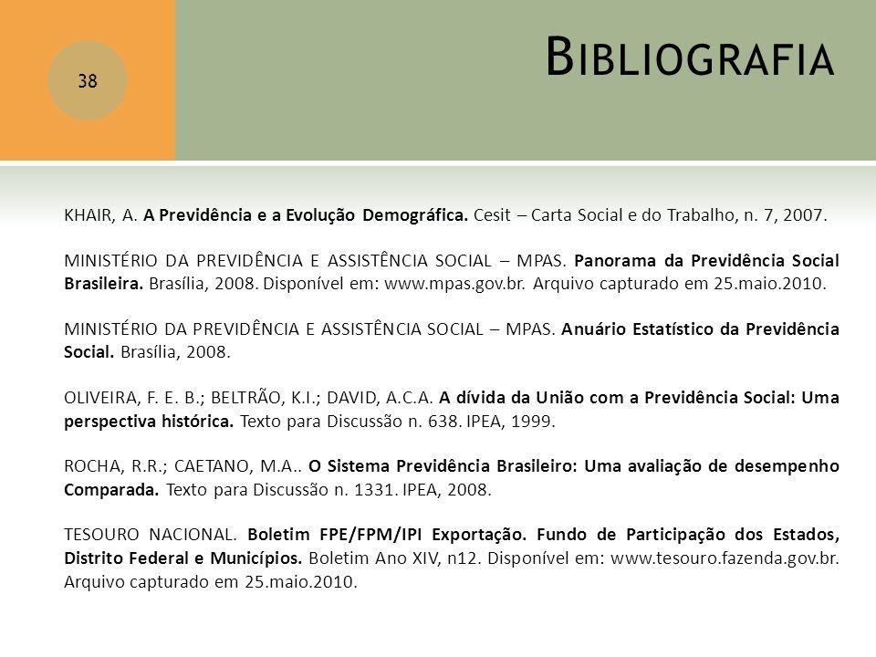 B IBLIOGRAFIA 38 KHAIR, A. A Previdência e a Evolução Demográfica. Cesit – Carta Social e do Trabalho, n. 7, 2007. MINISTÉRIO DA PREVIDÊNCIA E ASSISTÊ