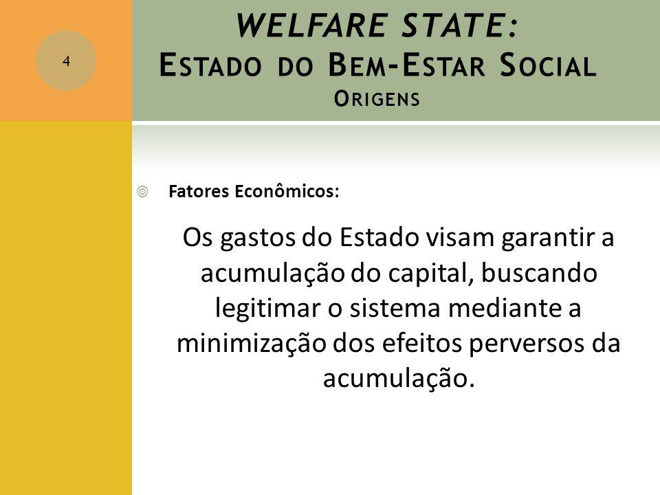 WELFARE STATE: E STADO DO B EM -E STAR S OCIAL O RIGENS  Fatores Econômicos: Os gastos do Estado visam garantir a acumulação do capital, buscando leg