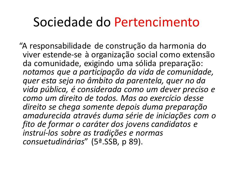 """Sociedade do Pertencimento """"A responsabilidade de construção da harmonia do viver estende-se à organização social como extensão da comunidade, exigind"""