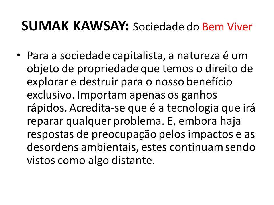 SUMAK KAWSAY: Sociedade do Bem Viver Para a sociedade capitalista, a natureza é um objeto de propriedade que temos o direito de explorar e destruir pa