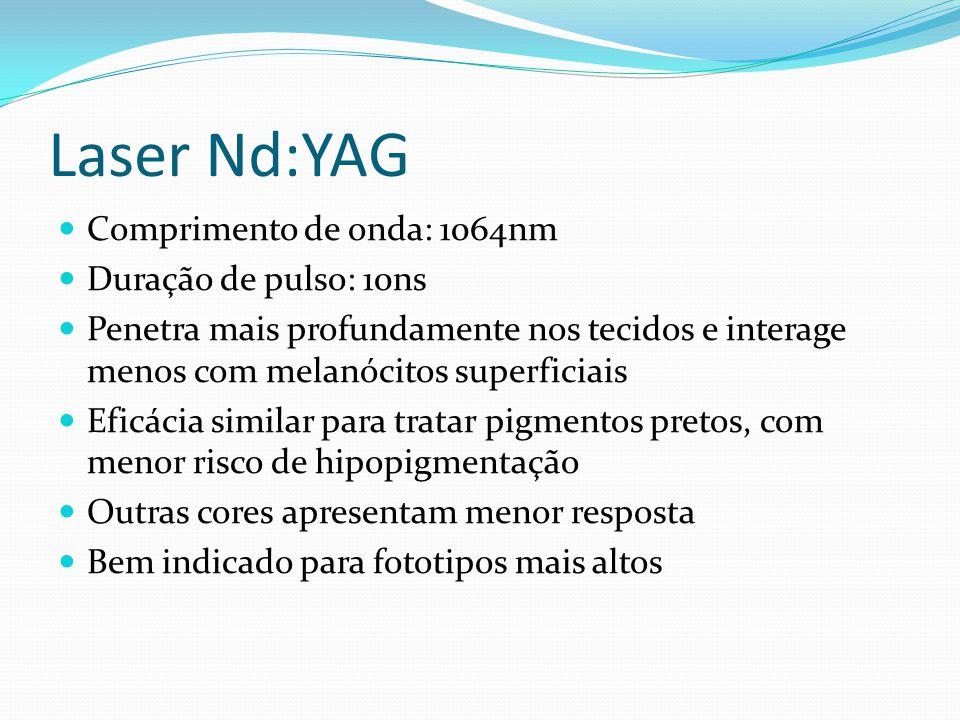 Laser Nd:YAG Comprimento de onda: 1064nm Duração de pulso: 10ns Penetra mais profundamente nos tecidos e interage menos com melanócitos superficiais E