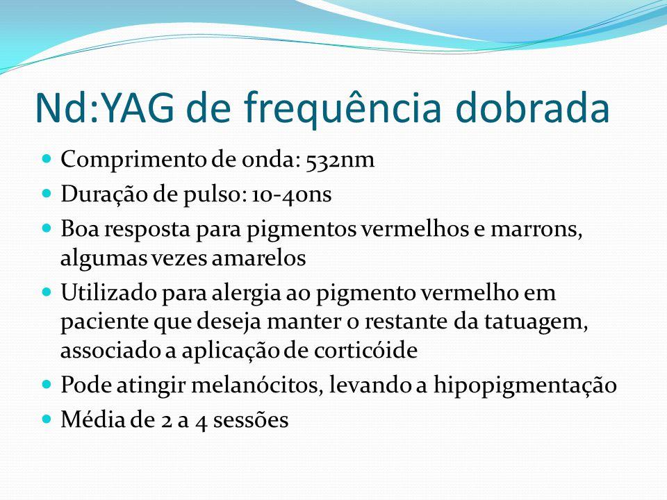 Nd:YAG de frequência dobrada Comprimento de onda: 532nm Duração de pulso: 10-40ns Boa resposta para pigmentos vermelhos e marrons, algumas vezes amare