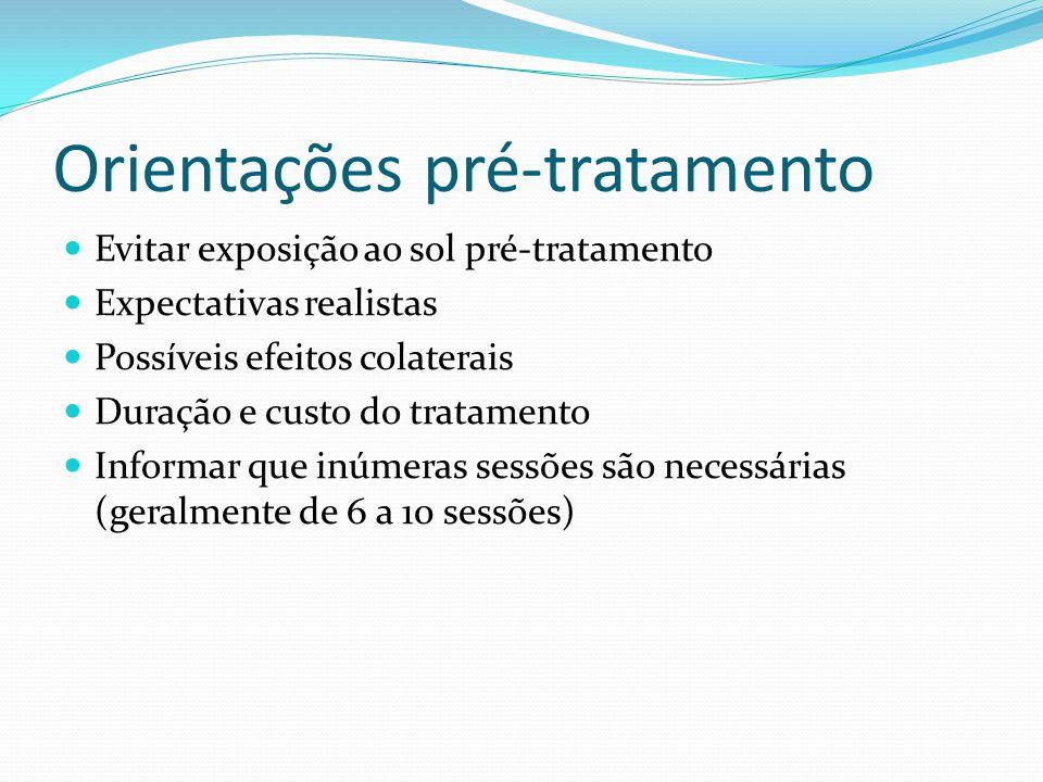 Orientações pré-tratamento Evitar exposição ao sol pré-tratamento Expectativas realistas Possíveis efeitos colaterais Duração e custo do tratamento In