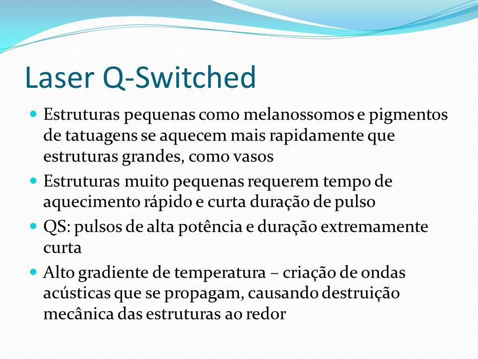 Laser Q-Switched Estruturas pequenas como melanossomos e pigmentos de tatuagens se aquecem mais rapidamente que estruturas grandes, como vasos Estrutu