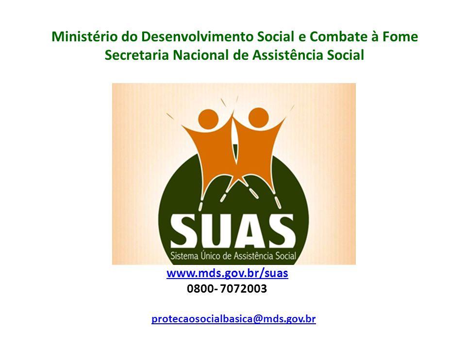 Ministério do Desenvolvimento Social e Combate à Fome Secretaria Nacional de Assistência Social protecaosocialbasica@mds.gov.br www.mds.gov.br/suas 0800- 7072003