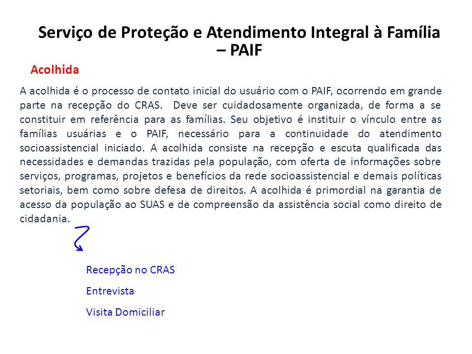 Serviço de Proteção e Atendimento Integral à Família – PAIF Acolhida A acolhida é o processo de contato inicial do usuário com o PAIF, ocorrendo em grande parte na recepção do CRAS.