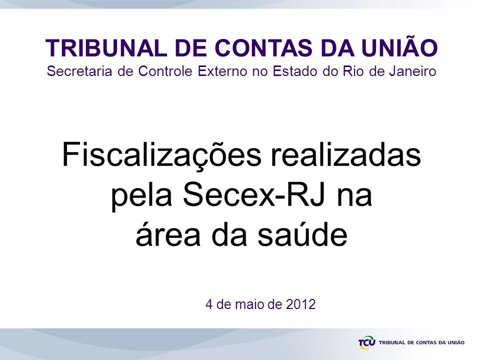 TRIBUNAL DE CONTAS DA UNIÃO Secretaria de Controle Externo no Estado do Rio de Janeiro 4 de maio de 2012 Fiscalizações realizadas pela Secex-RJ na área da saúde