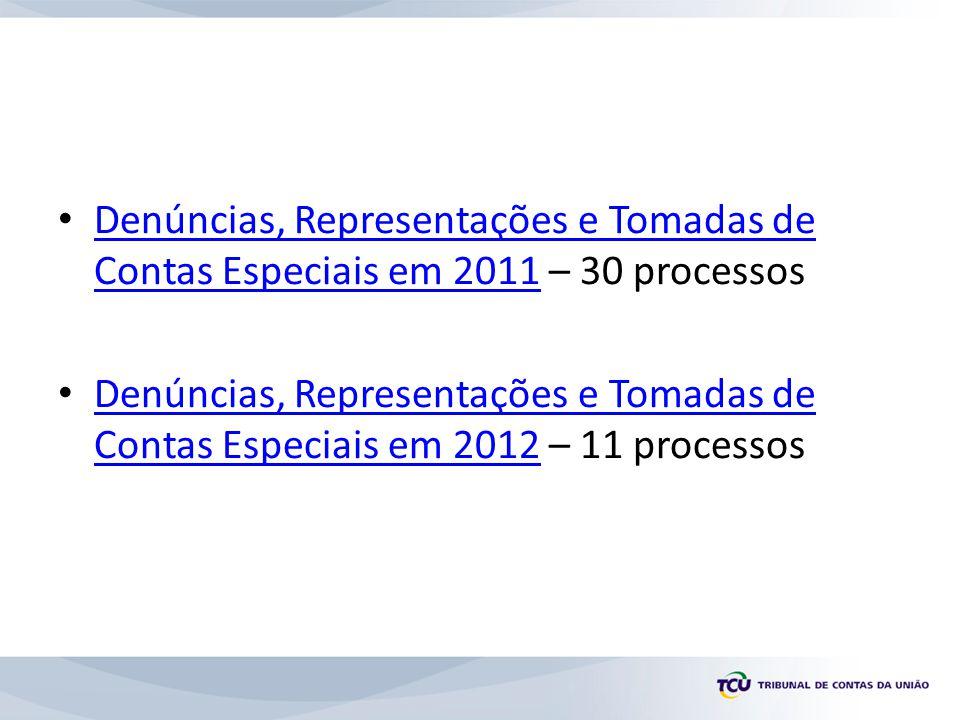 Denúncias, Representações e Tomadas de Contas Especiais em 2011 – 30 processos Denúncias, Representações e Tomadas de Contas Especiais em 2011 Denúncias, Representações e Tomadas de Contas Especiais em 2012 – 11 processos Denúncias, Representações e Tomadas de Contas Especiais em 2012