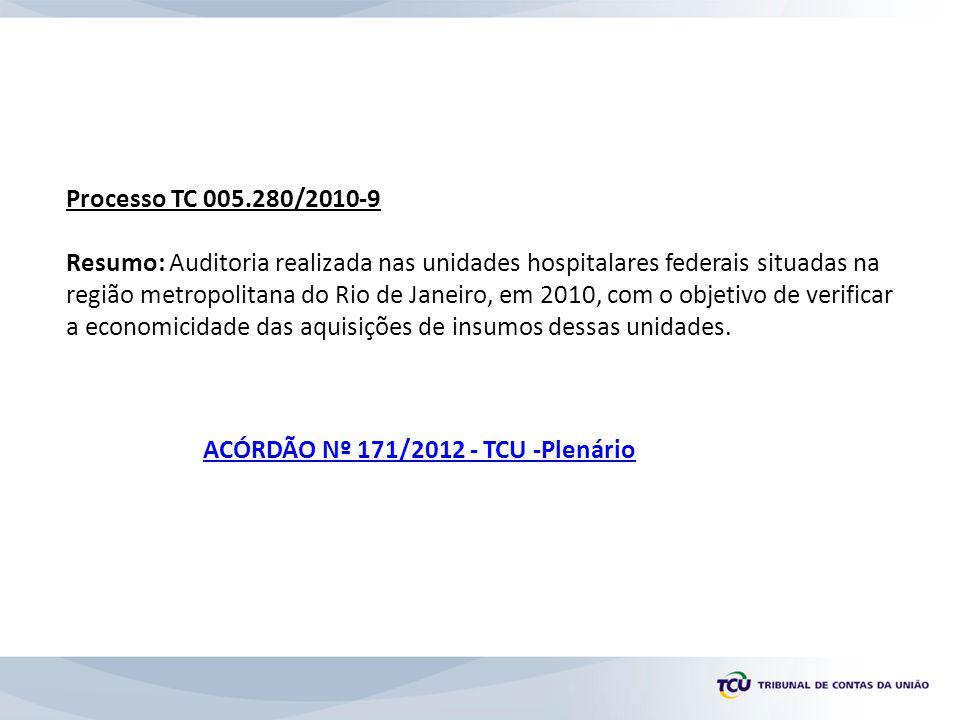 Processo TC 005.280/2010-9 Resumo: Auditoria realizada nas unidades hospitalares federais situadas na região metropolitana do Rio de Janeiro, em 2010, com o objetivo de verificar a economicidade das aquisições de insumos dessas unidades.