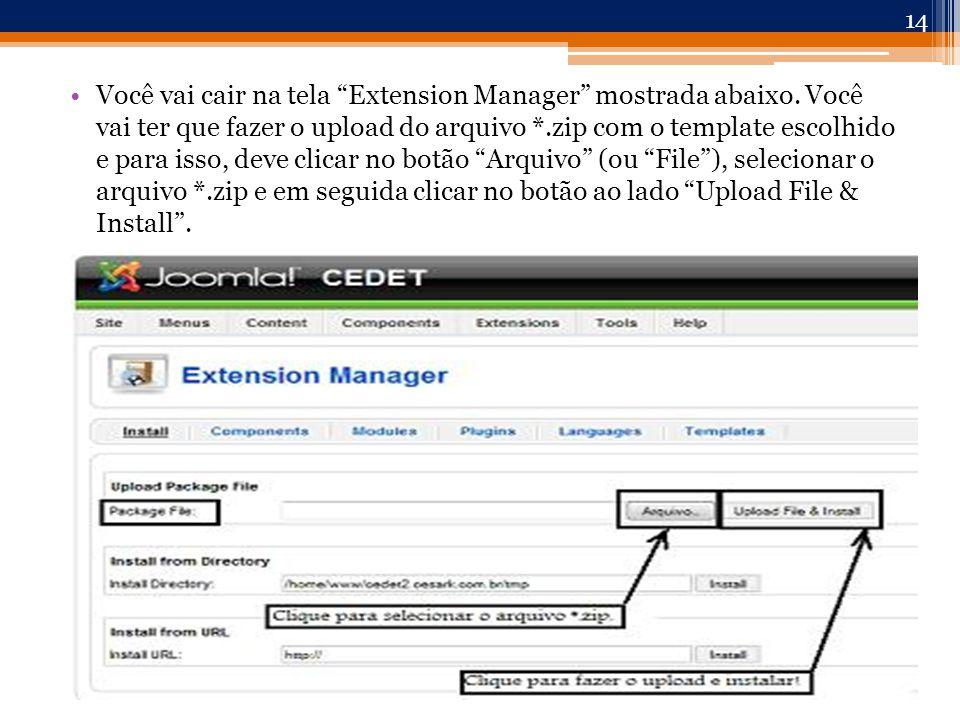 Você vai cair na tela Extension Manager mostrada abaixo.