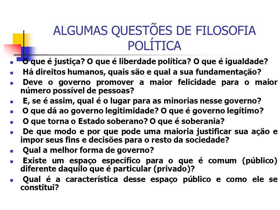 ALGUMAS QUESTÕES DE FILOSOFIA POLÍTICA O que é justiça? O que é liberdade política? O que é igualdade? Há direitos humanos, quais são e qual a sua fun