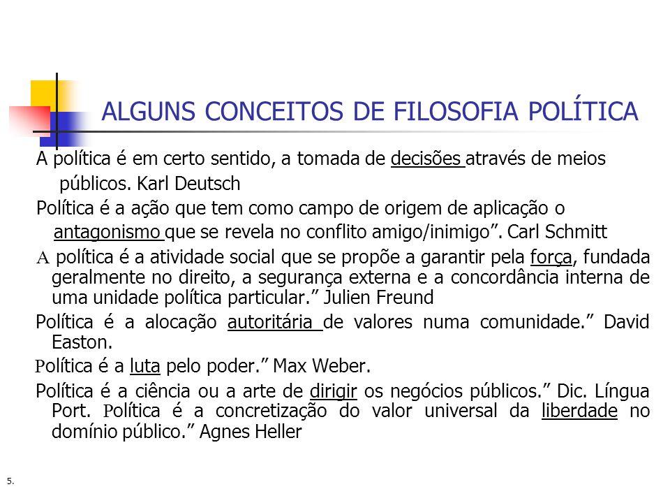 ALGUNS CONCEITOS DE FILOSOFIA POLÍTICA A política é em certo sentido, a tomada de decisões através de meios públicos. Karl Deutsch Política é a ação q