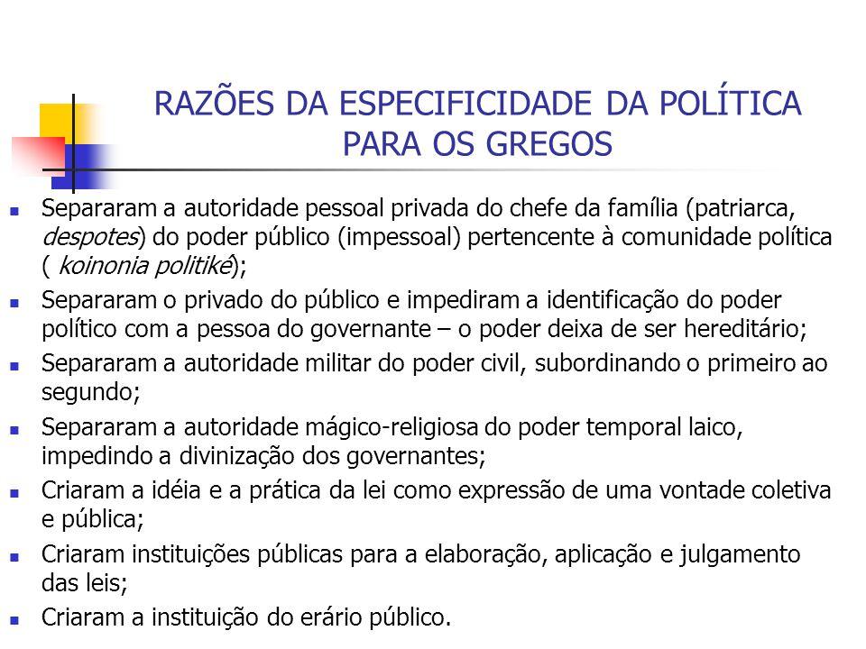 RAZÕES DA ESPECIFICIDADE DA POLÍTICA PARA OS GREGOS Separaram a autoridade pessoal privada do chefe da família (patriarca, despotes) do poder público