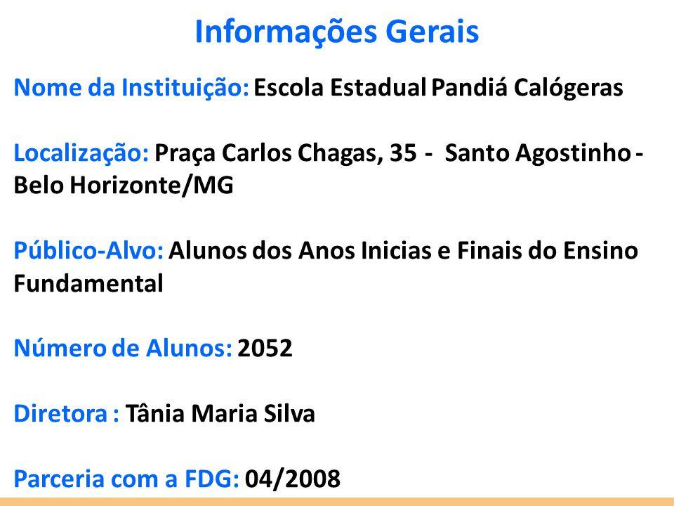Informações Gerais Nome da Instituição: Escola Estadual Pandiá Calógeras Localização: Praça Carlos Chagas, 35 - Santo Agostinho - Belo Horizonte/MG Pú