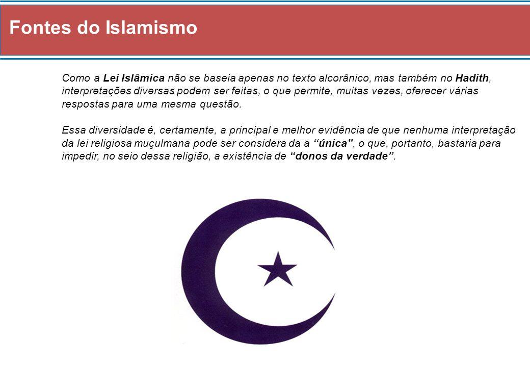 Fontes do Islamismo Como a Lei Islâmica não se baseia apenas no texto alcorânico, mas também no Hadith, interpretações diversas podem ser feitas, o qu
