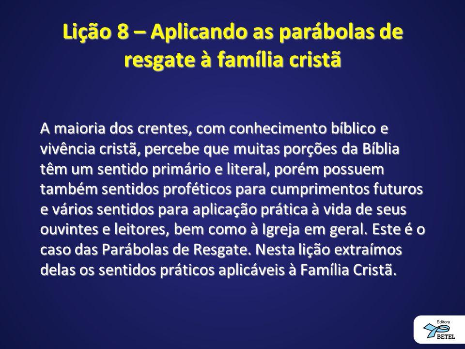 Lição 8 – Aplicando as parábolas de resgate à família cristã A maioria dos crentes, com conhecimento bíblico e vivência cristã, percebe que muitas por