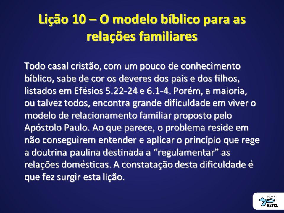 Lição 10 – O modelo bíblico para as relações familiares Todo casal cristão, com um pouco de conhecimento bíblico, sabe de cor os deveres dos pais e do