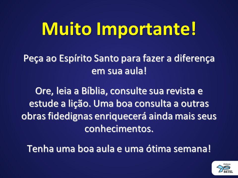 Muito Importante! Peça ao Espírito Santo para fazer a diferença em sua aula! Ore, leia a Bíblia, consulte sua revista e estude a lição. Uma boa consul