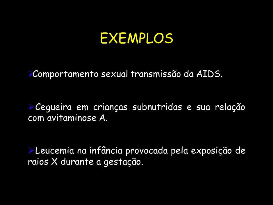 EXEMPLOS  Comportamento sexual transmissão da AIDS.  Cegueira em crianças subnutridas e sua relação com avitaminose A.  Leucemia na infância provoc
