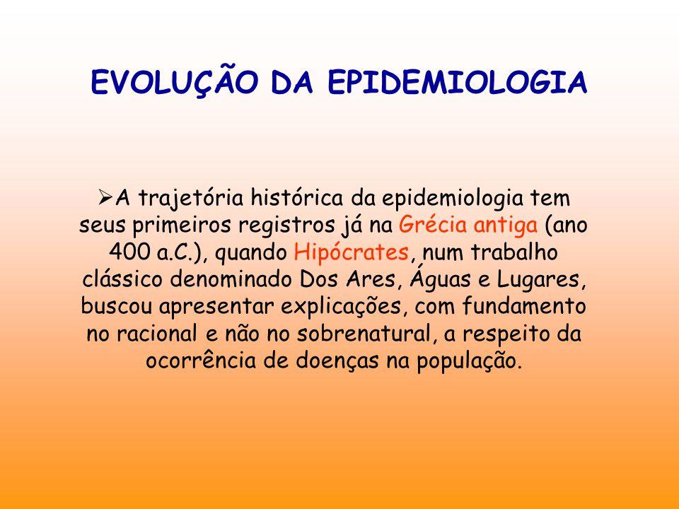 EVOLUÇÃO DA EPIDEMIOLOGIA  A trajetória histórica da epidemiologia tem seus primeiros registros já na Grécia antiga (ano 400 a.C.), quando Hipócrates