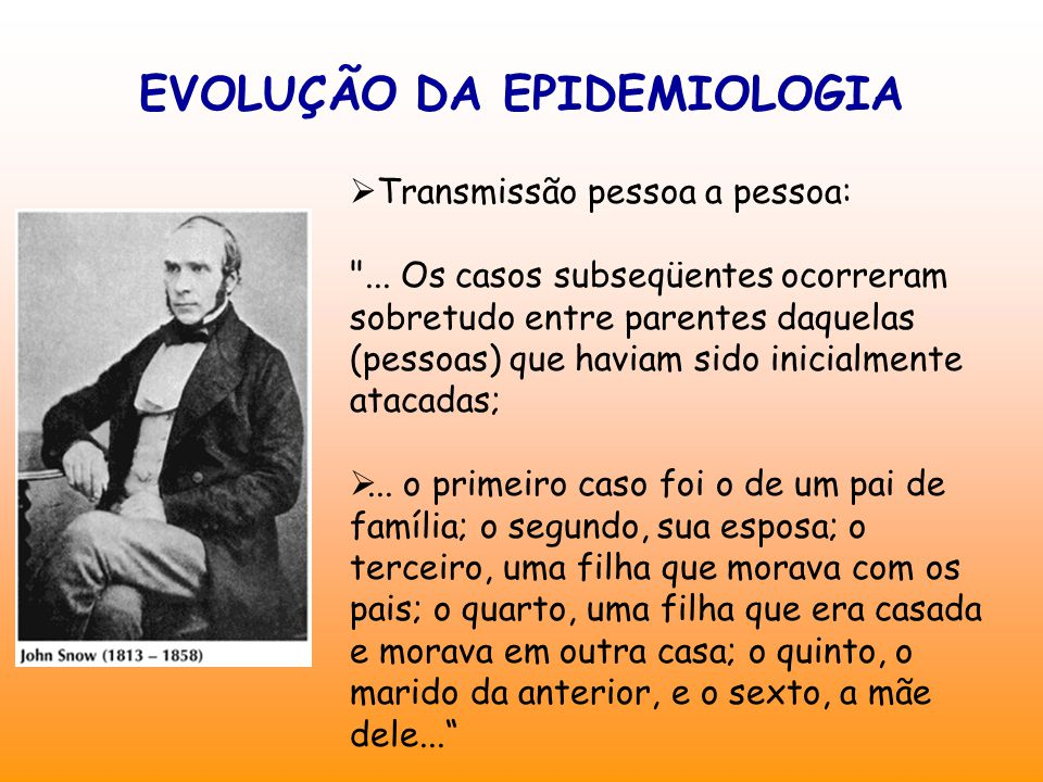 EVOLUÇÃO DA EPIDEMIOLOGIA  Transmissão pessoa a pessoa: