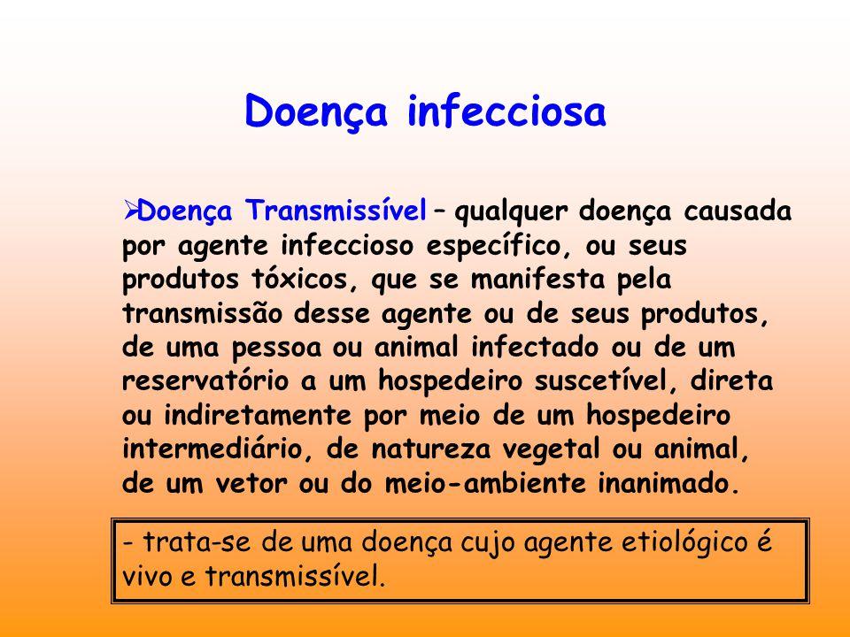 Doença infecciosa  Doença Transmissível – qualquer doença causada por agente infeccioso específico, ou seus produtos tóxicos, que se manifesta pela t