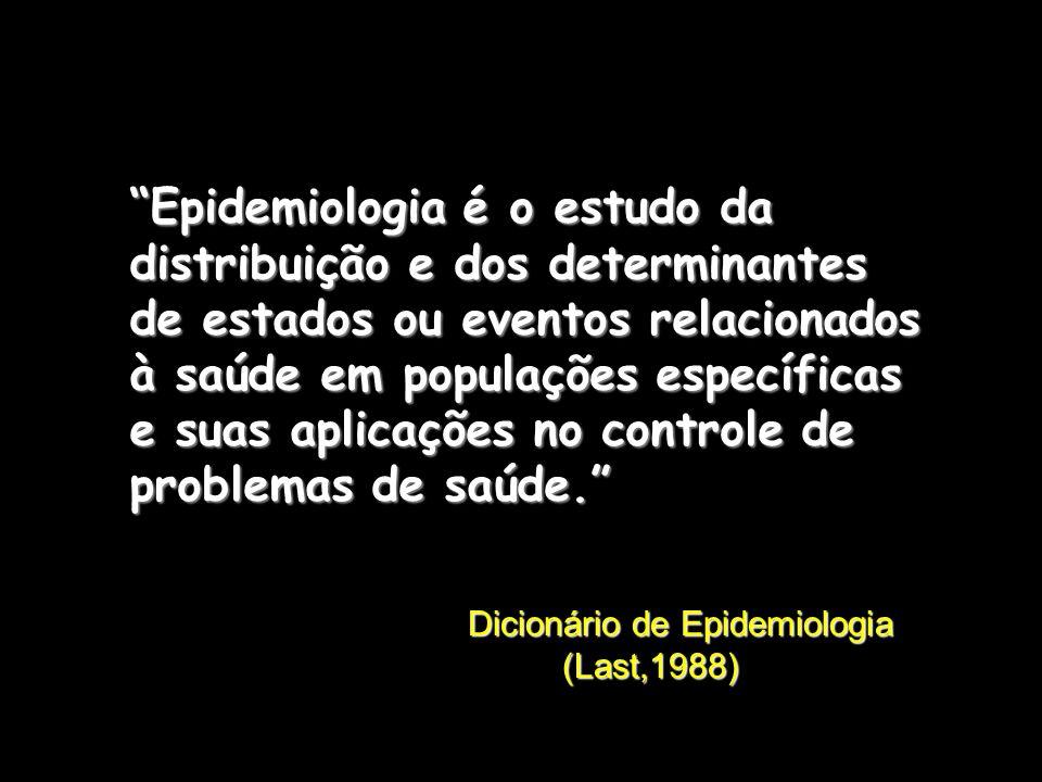 Epidemiologia é o estudo da distribuição e dos determinantes de estados ou eventos relacionados à saúde em populações específicas e suas aplicações no controle de problemas de saúde. Dicionário de Epidemiologia (Last,1988)