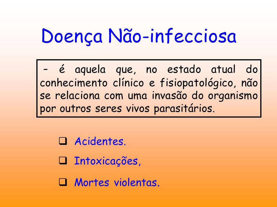 Doença Não-infecciosa - é aquela que, no estado atual do conhecimento clínico e fisiopatológico, não se relaciona com uma invasão do organismo por outros seres vivos parasitários.