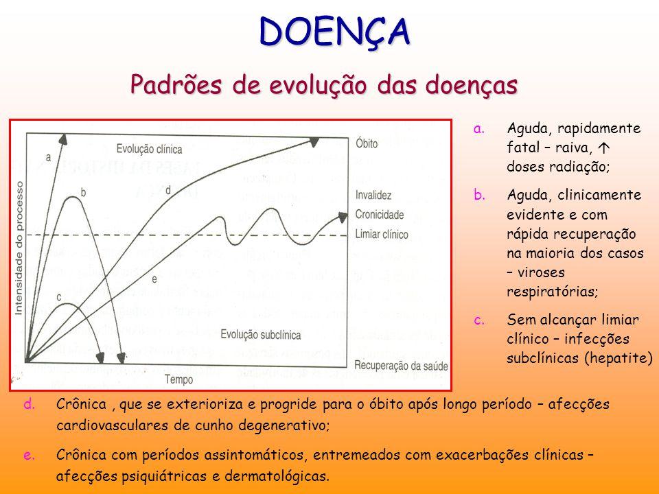 Padrões de evolução das doenças DOENÇA a.Aguda, rapidamente fatal – raiva,  doses radiação; b.Aguda, clinicamente evidente e com rápida recuperação n