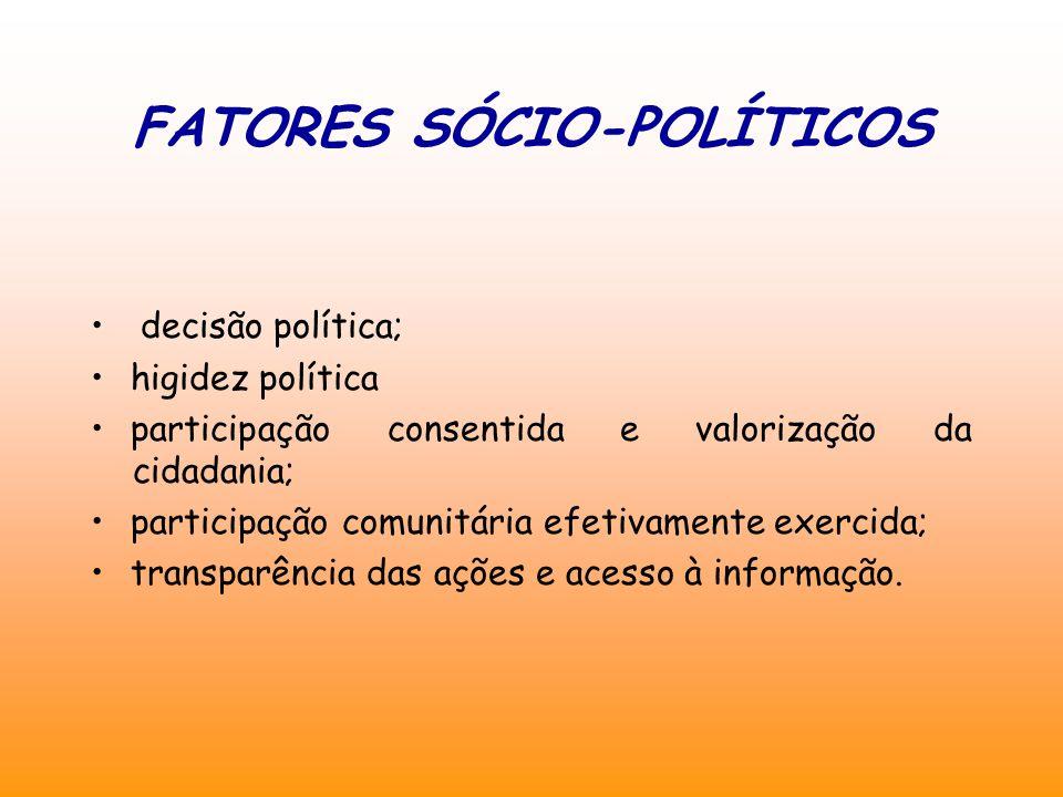 FATORES SÓCIO-POLÍTICOS decisão política; higidez política participação consentida e valorização da cidadania; participação comunitária efetivamente exercida; transparência das ações e acesso à informação.
