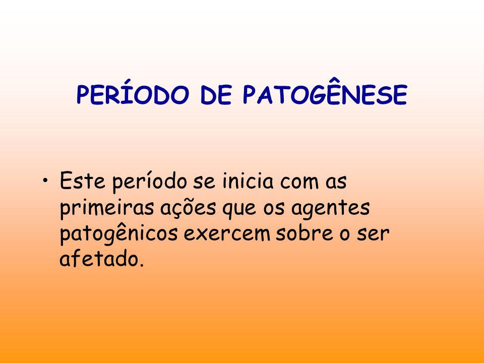 Este período se inicia com as primeiras ações que os agentes patogênicos exercem sobre o ser afetado.