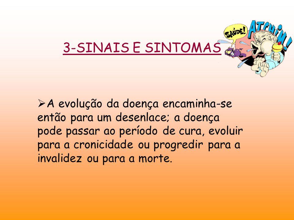 3-SINAIS E SINTOMAS  A evolução da doença encaminha-se então para um desenlace; a doença pode passar ao período de cura, evoluir para a cronicidade ou progredir para a invalidez ou para a morte.