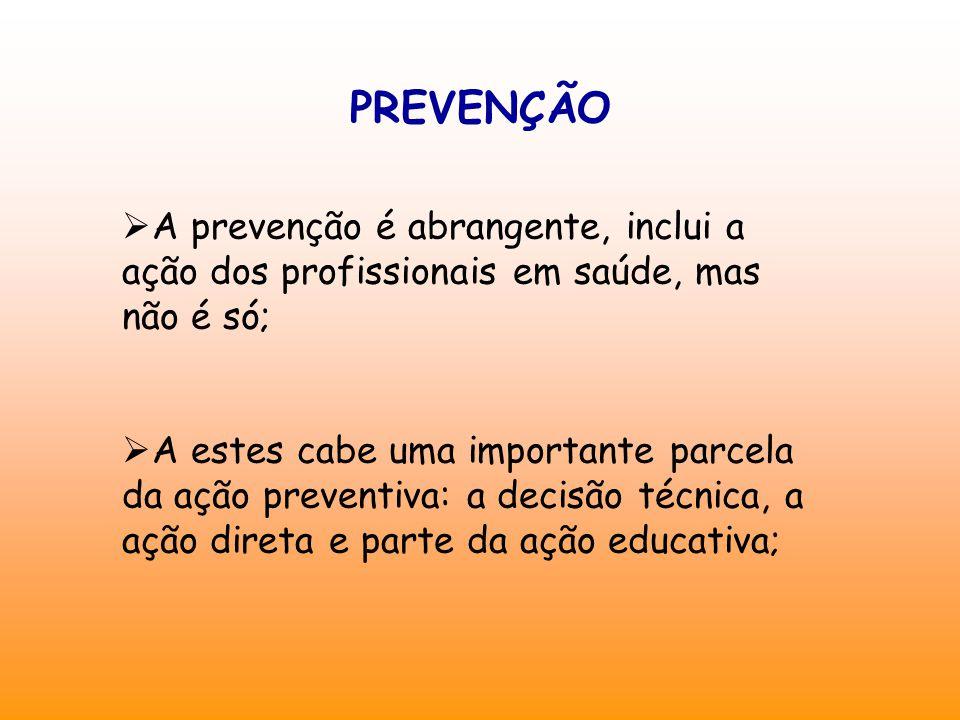 PREVENÇÃO  A prevenção é abrangente, inclui a ação dos profissionais em saúde, mas não é só;  A estes cabe uma importante parcela da ação preventiva: a decisão técnica, a ação direta e parte da ação educativa;