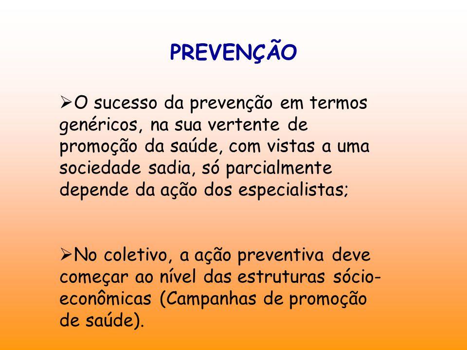 PREVENÇÃO  O sucesso da prevenção em termos genéricos, na sua vertente de promoção da saúde, com vistas a uma sociedade sadia, só parcialmente depend