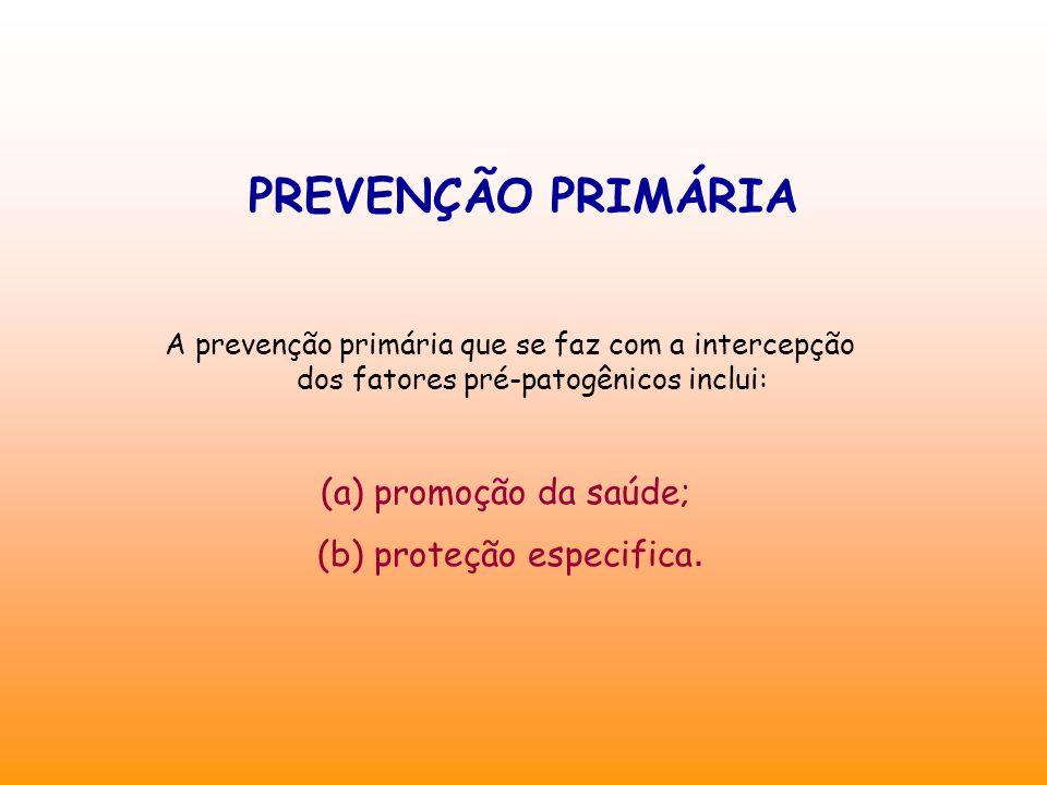 PREVENÇÃO PRIMÁRIA A prevenção primária que se faz com a intercepção dos fatores pré-patogênicos inclui: (a) promoção da saúde; (b) proteção especifica.