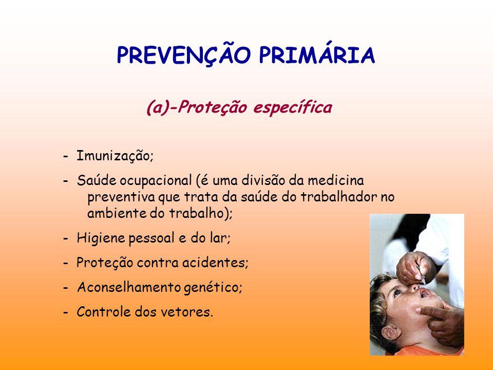 PREVENÇÃO PRIMÁRIA (a)-Proteção específica - Imunização; - Saúde ocupacional (é uma divisão da medicina preventiva que trata da saúde do trabalhador no ambiente do trabalho); - Higiene pessoal e do lar; - Proteção contra acidentes; - Aconselhamento genético; - Controle dos vetores.