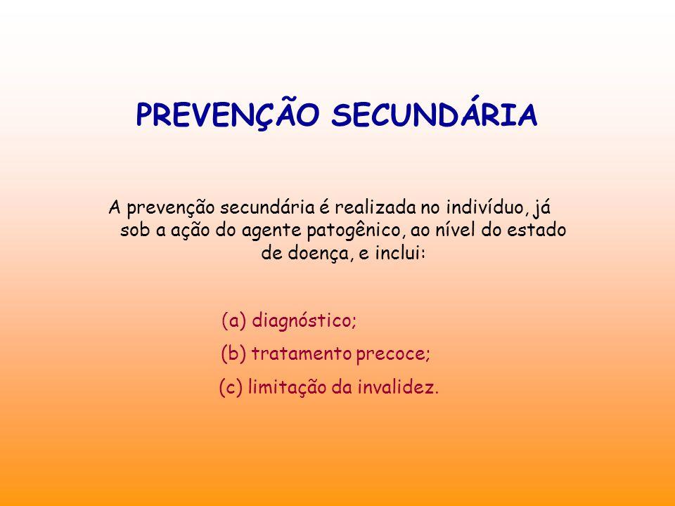 PREVENÇÃO SECUNDÁRIA A prevenção secundária é realizada no indivíduo, já sob a ação do agente patogênico, ao nível do estado de doença, e inclui: ( a) diagnóstico; (b) tratamento precoce; (c) limitação da invalidez.