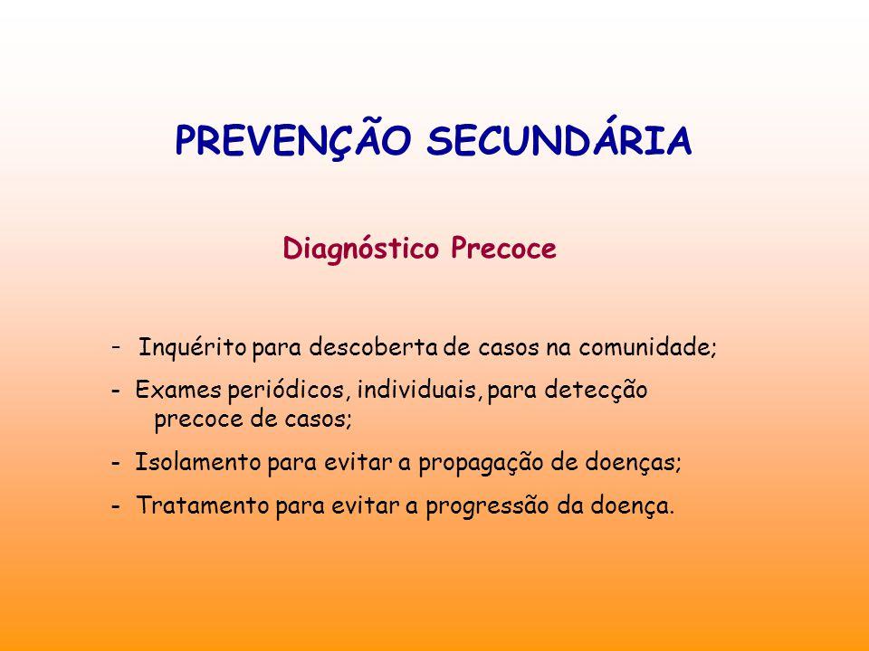 PREVENÇÃO SECUNDÁRIA Diagnóstico Precoce - Inquérito para descoberta de casos na comunidade; - Exames periódicos, individuais, para detecção precoce de casos; - Isolamento para evitar a propagação de doenças; - Tratamento para evitar a progressão da doença.