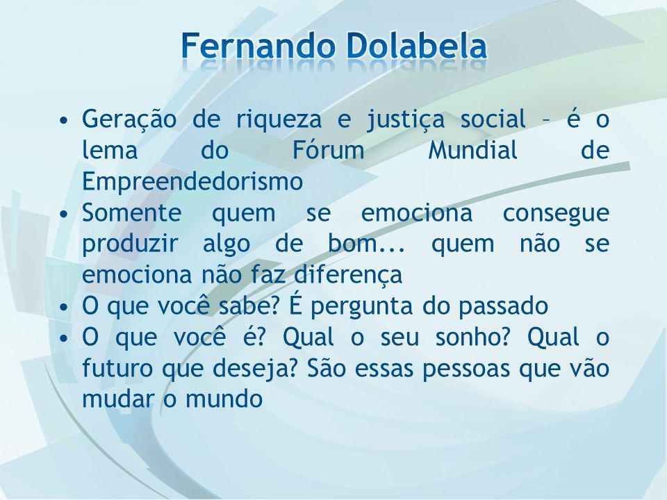 Geração de riqueza e justiça social – é o lema do Fórum Mundial de Empreendedorismo Somente quem se emociona consegue produzir algo de bom...