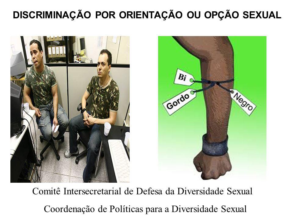 DISCRIMINAÇÃO POR ORIENTAÇÃO OU OPÇÃO SEXUAL Comitê Intersecretarial de Defesa da Diversidade Sexual Coordenação de Políticas para a Diversidade Sexua