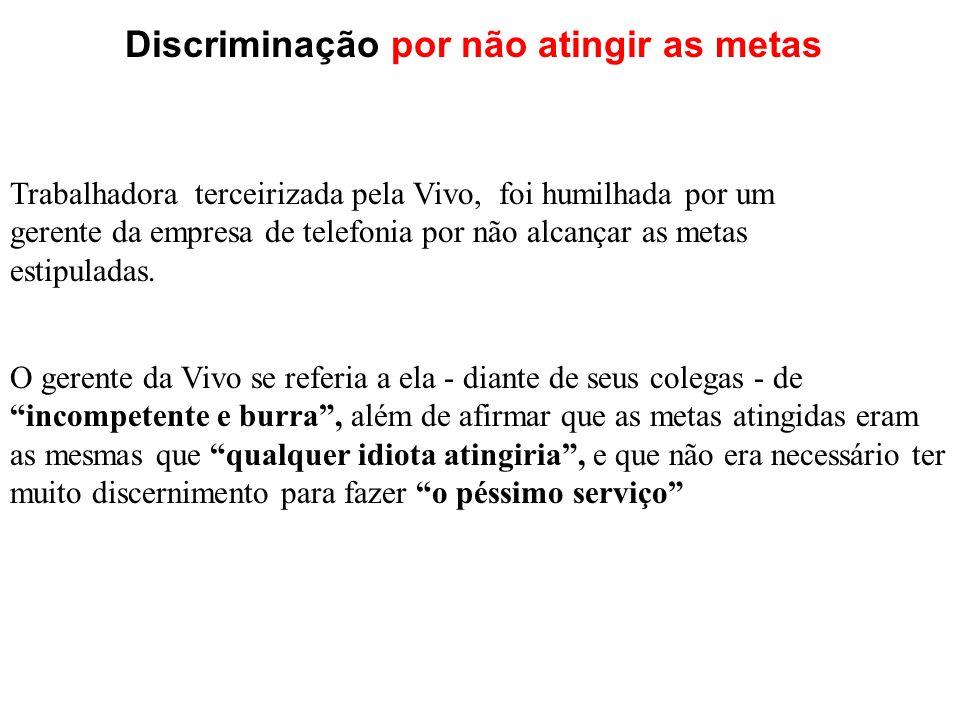 Trabalhadora terceirizada pela Vivo, foi humilhada por um gerente da empresa de telefonia por não alcançar as metas estipuladas.
