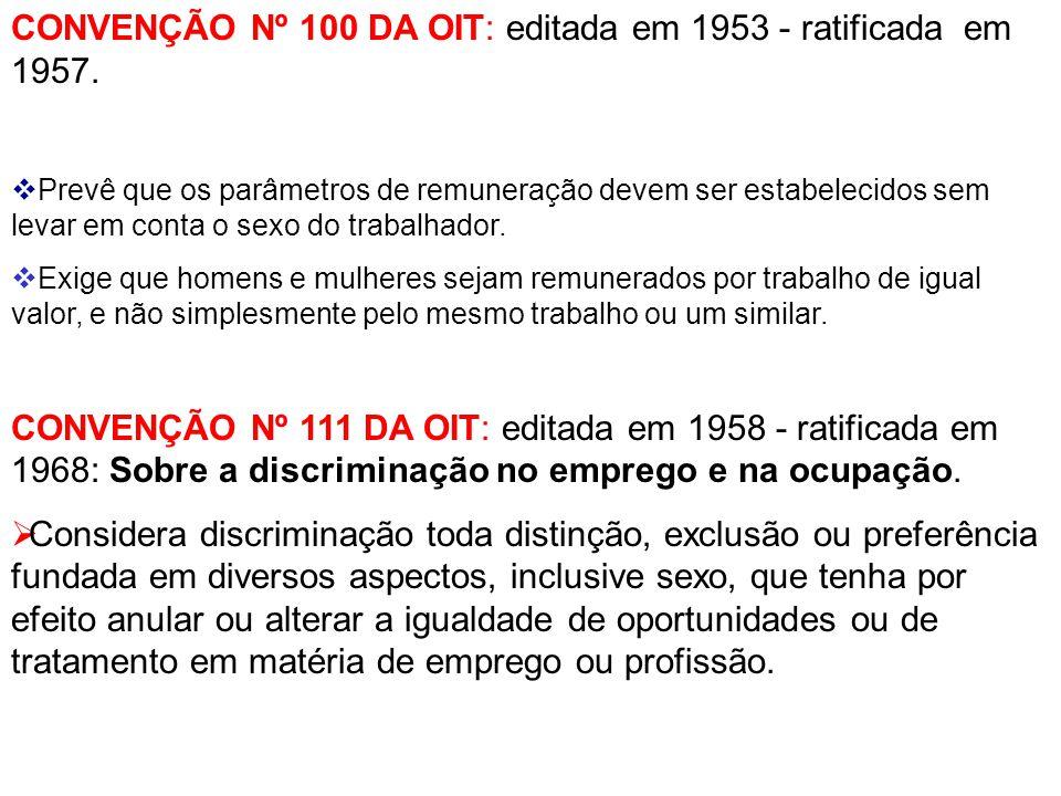CONVENÇÃO Nº 100 DA OIT: editada em 1953 - ratificada em 1957.  Prevê que os parâmetros de remuneração devem ser estabelecidos sem levar em conta o s