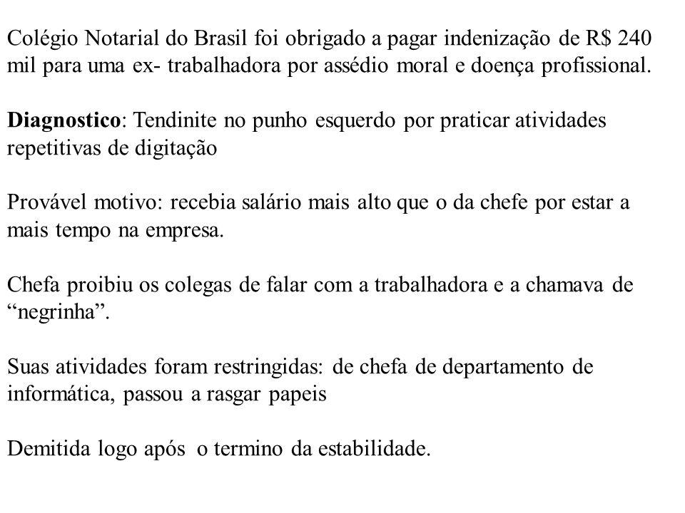 Colégio Notarial do Brasil foi obrigado a pagar indenização de R$ 240 mil para uma ex- trabalhadora por assédio moral e doença profissional. Diagnosti